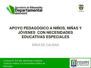 APOYO PEDAGÓGICO A NIÑOS, NIÑAS Y JÓVENES  CON NECESIDADES EDUCATIVAS  ESPECIALES