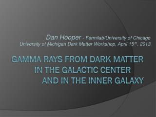 Gamma rays from dark matter in the Galactic center 		and IN The inner galaxy