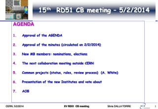 15 th   RD51 CB meeting – 5/2/2014