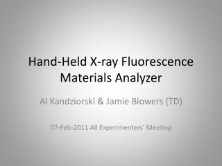 Hand-Held X-ray Fluorescence Materials Analyzer