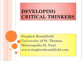 DEVELOP ING  CRITICAL  THINKERS
