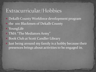 Extracurricular/Hobbies