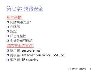 :       : : secure e-mail : Internet commerce, SSL, SET : IP security