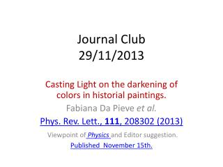 Journal  Club 29/11/2013