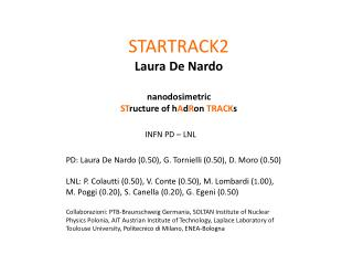 STARTRACK2 Laura De Nardo nanodosimetric  ST ructure of h A d R on  TRACK s