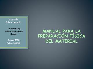 MANUAL PARA LA PREPARACIÓN FÍSICA DEL MATERIAL