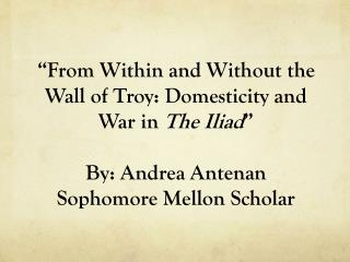 """""""From Within and Without the Wall of Troy: Domesticity and War in  The Iliad """" By: Andrea Antenan"""