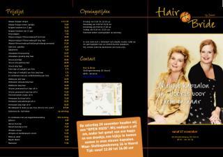 Hair &  Bride Stellingmolenweg  18  Voorst  0575 - 50 20 32  jeanet@bruid-beauty.nl