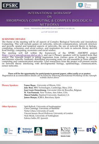International workshop on  amorphous computing & complex biological networks