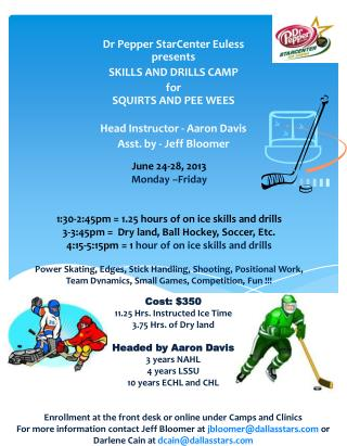 Dr Pepper  StarCenter  Euless presents SKILLS AND DRILLS CAMP for SQUIRTS AND PEE WEES