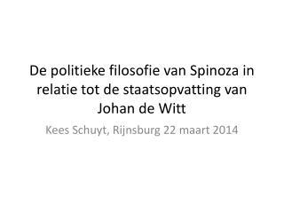 De politieke filosofie van Spinoza in relatie tot de staatsopvatting van Johan de Witt