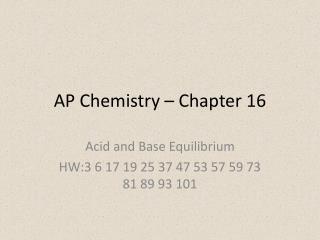 AP Chemistry – Chapter 16