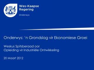 Onderwys:  'n Grondslag vir Ekonomiese Groei