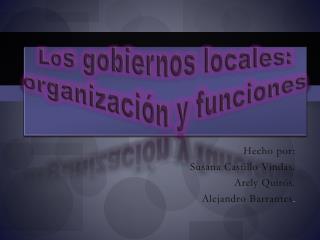 Lo s gobiernos locales: organización y funciones