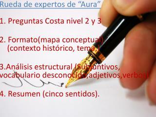 """Rueda de  expertos  de """"Aura""""  1.  Preguntas  Costa  nivel  2 y 3"""