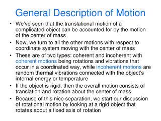 General Description of Motion