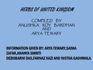 HERBS OF UNITED KINGDOM