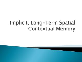 Implicit, Long-Term Spatial Contextual Memory