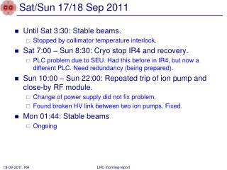 Sat/Sun 17/18 Sep 2011