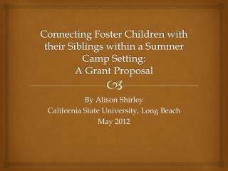Connecting Foster Children with their Siblings within a Summer Camp Setting:  A  Grant  Proposal