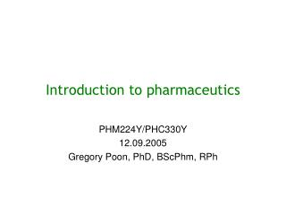 Introduction to pharmaceutics