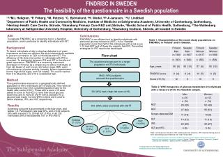 F INDRISC IN SWEDEN The feasibility of the questionnaire in a Swedish population