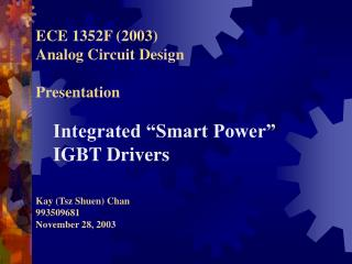 ECE 1352F 2003 Analog Circuit Design  Presentation