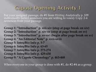 Capote Opening Activity 1