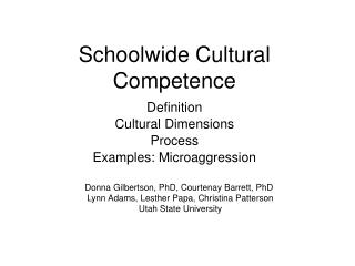 Schoolwide Cultural Competence