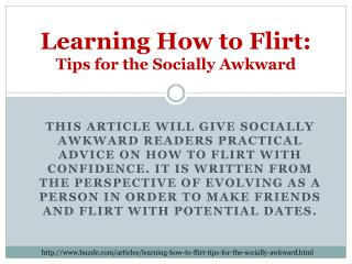 Learning How to Flirt:  Tips  for the Socially Awkward