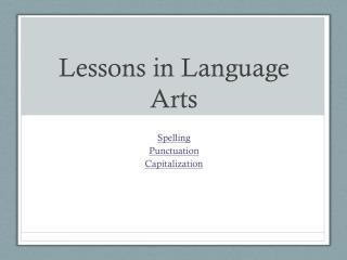 Lessons in Language Arts