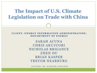 The Impact of U.S. Climate Legislation on Trade with China