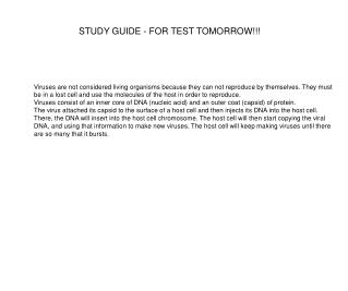 STUDY GUIDE - FOR TEST TOMORROW!!!