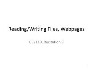 Reading/Writing Files, Webpages