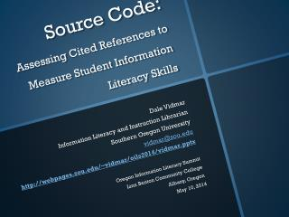Source  Code: Assessing  Cited References to Measure Student Information Literacy Skills