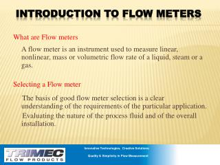 Introduction to Flow Meters