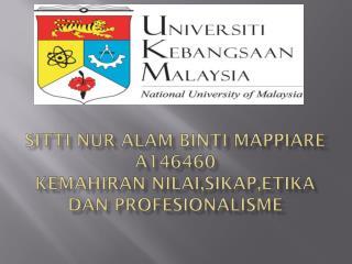 Sitti Nur Alam Binti Mappiare A146460 KemahIRAN  NILAI,SIKAP,ETIKA DAN PROFESIONALISME