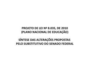 PROJETO DE LEI Nº 8.035, DE  2010 ( PLANO NACIONAL DE EDUCAÇÃO) SÍNTESE  DAS ALTERAÇÕES PROPOSTAS