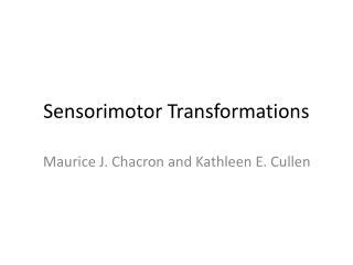 Sensorimotor Transformations