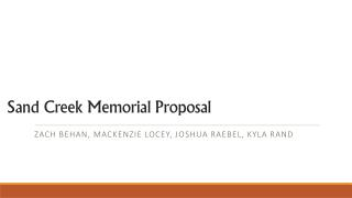 Sand Creek Memorial Proposal