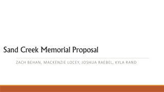 Sand Creek Memorial Proposal