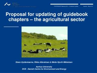 Proposal  for  updating  of guidebook  chapters  – the  agricultural sector