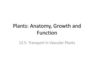 Plants: Anatomy, Growth and Function