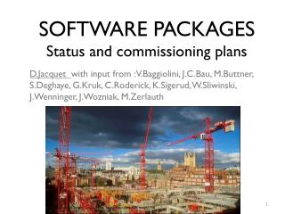 SOFTWARE PACKAGES Status and commissioning plans