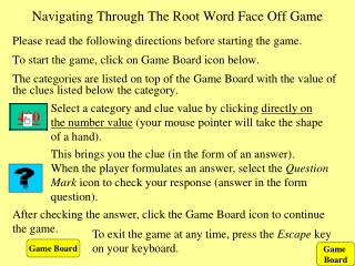 Navigating Through The Root Word Face Off Game