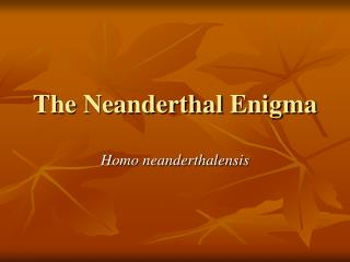 The Neanderthal Enigma