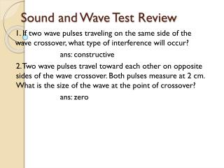 Sound and Wave Test Review