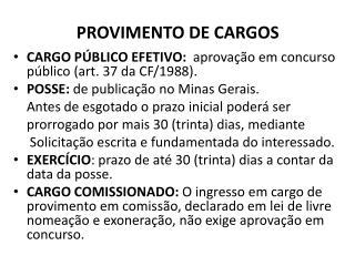 PROVIMENTO DE CARGOS