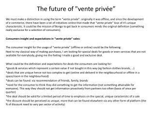 """The future of """" vente privée """""""
