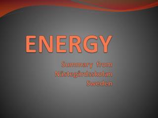 ENERGY Summary from     Nästegårdsskolan Sweden